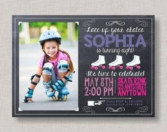 Roller Skating Invitation, Roller Skating Birthday, Roller Skating Party, Printable