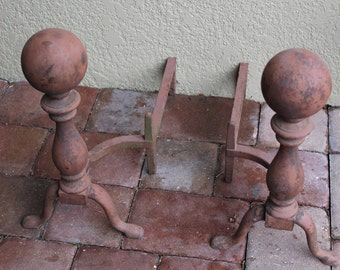 1800s Bradley and Hubbard (B&H) Andirons Antique FREE DOMESTIC SHIPPING