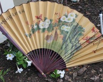 """LARGE Vintage Oriental Wall Fan 48"""" x 26"""""""
