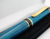 WOODEN Pen Peacock Blue