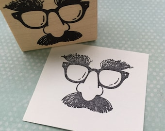 Glasses Mustache and Nose Rubber Stamp