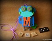 Robot Ornament - Monkey Bot - M Bot - Upcycled Ornament - Hanging Decor by Jen Hardwick