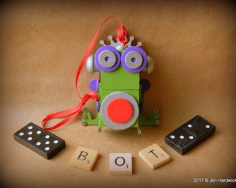 Robot Ornament - Prince Charming Frog Bot - Upcycled Ornament - Hanging Decor by Jen Hardwick