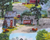 Coca Cola Fabric, Coca Cola Ads, Coca Cola Scenes, Vintage Scenes, Coca Cola, Vintage Style, By the Yard, Cotton Fabric, Ads on Buildings