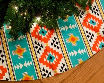 "Southwest Christmas Tree Skirt with Orange and Turquoise Native American Style Print, Southwest Decoration, 52"" Diameter Xmas Tree Skirt"