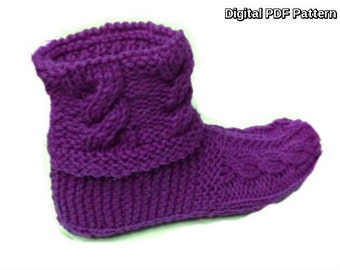 Vertical Braided Cuff Slippers Booties Knitting PDF Pattern Knitting Shoes Knitting booties Is not a finished product. It is a PDF Pattern