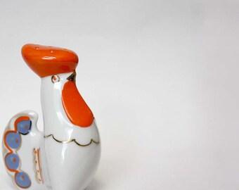 Vintage Folk Porcelain Salt Shaker. Cockerel White, Orange, Blue, Gold. Russian Soviet Vintage Kitchen Serving. Odds and Ends