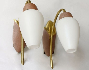 Pair of 1950s Sconces/ Wall Lights. Mauve. Pink-Brown Tulip. White Glass, Brass. 50W04