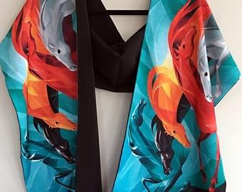Gallop on Black - Faille Scarf / Shawl / Hijab / Handmade Fashion Accessory
