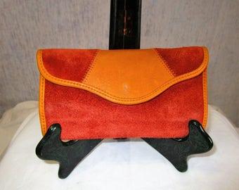 60s Buckskin Suede Leather Wallet Rust Mustard Yellow