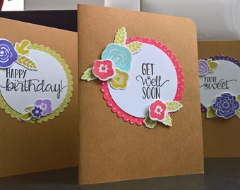 Greeting Card Set of 3, Get Well Card, Birthday Card, Thank You Card Set, Spring Card Set, Floral Card Set, Stationery Set,