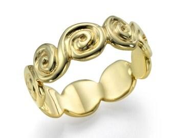 Plain Ring, Vintage 14K Yellow Gold Wedding Ring - Design Solid Yellow Gold Wedding Band, Size 5 Plain Band Sizeable Bridal Jewelry