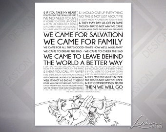 The Avett Brothers Salvation Song Lyrics with Original Illustration - Original Archival Matte Print - 8x10, 11x14, 16x20, 20x24, 24x30
