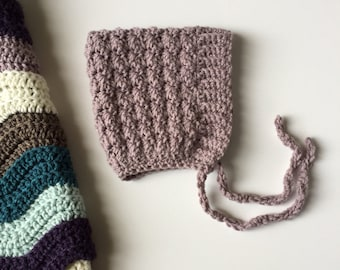 BELL crochet pixie baby bonnet - lilac  - MADE to ORDER