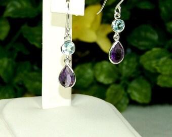 Amethyst Earrings, Sky Blue Topaz, Sterling Silver, February Birthstone, Purple Amethyst, Amethyst Dangles, Multistone Dangles