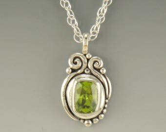 P633- Sterling Silver Cushion Cut Peridot Pendant- One of a kind