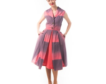 1940's Ombre Sundress/ 40's Cotton Pink and Purple Cotton Day Dress