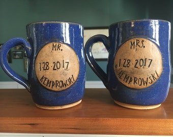Custom Mr. and Mrs. Wedding or anniversary mugs