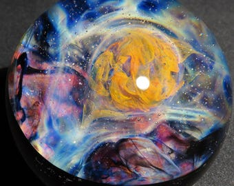 Golden Cloud Nebula Glass Marble