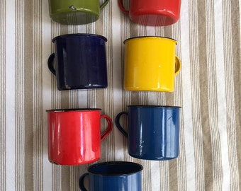 Vintage Set of 7 Camping Enamel Cups