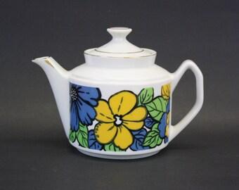 Vintage Mod Blue Floral Tea Pot  (E8450)