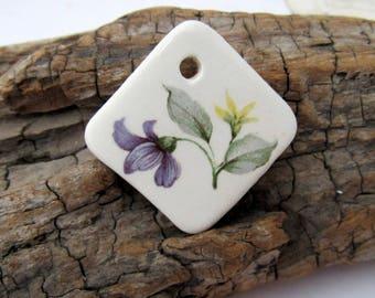 Purple Violet Flower Square Diamond Ceramic Pendant