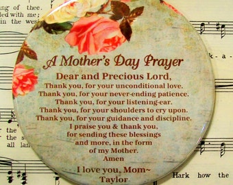 Personalized Mother's Day Magnet, A Mother's Day Prayer for Mom, 3.50 Inch Large Mom Magnet, Gifts for Mom, Personalized Magnet Gift