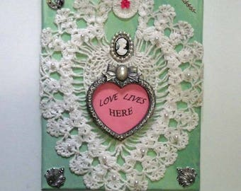 Wall art, mixed media, collage, wall quote, love quote, wall hanging, collectible art, home decor, green, white, pink