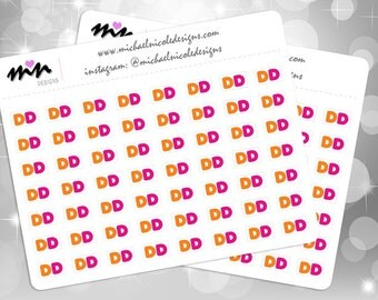 "Dunkin Donuts Stickers, 56 Matte or Glossy Stickers - .433"" - Perfect for Planner and Calendars 