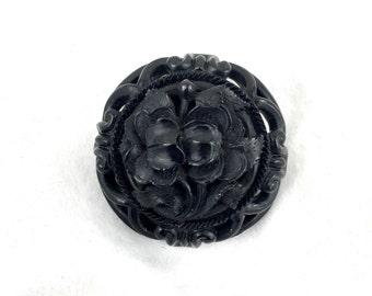 Victorian Black Iris Bakelite Art Nouveau Mourning Brooch