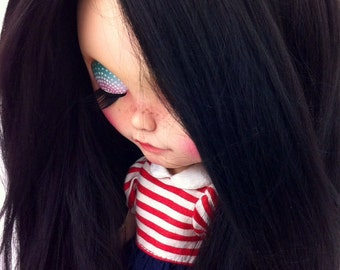 Make to order /Doll hair/ Hair Blythe doll/ Nature Black suri alpaca hair/ Re-Root scalp  for Blythe Doll  hair 13 inches