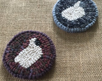 Free Shipping to USA - Small Handmade Hooked Rug Coaster Set - His and Hers Sheep