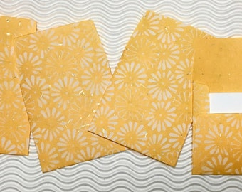 16 teeny tiny envelopes yellow daisy handmade paper miniature note set square stationery party favors weddings guest book table numbers