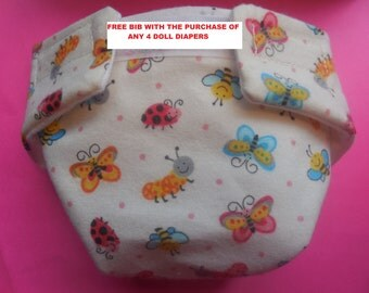 Ready to Ship size #2 cloth Doll Diaper bugs and bees adjusts washable fits bitty baby some baby alive all gone American Girl doll & more