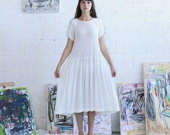 Halloween Sale Rib Raglan Mixed Dress , Oversized knee length dress, White dress, Casual day dress, loose fit dress
