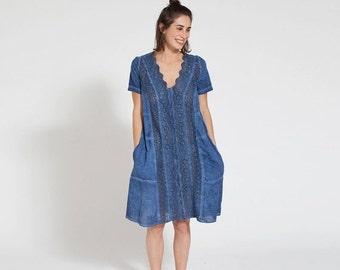 Pre Winter Sale 15% Embroidered Blue dress-short sleeve midi dress