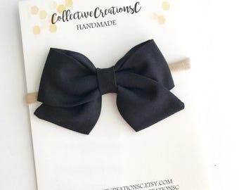 Baby Bow Headband - Black Sailor Bow - Black Folded Sailor Bow Headband or Clip - Black Fabric Bow - Nylon Headband - Black Folded Sailor
