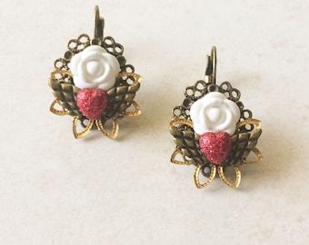 Sacred Heart Day of the Dead Earrings, White Red Gold Heart Flower Dia de los Muertos Earrings
