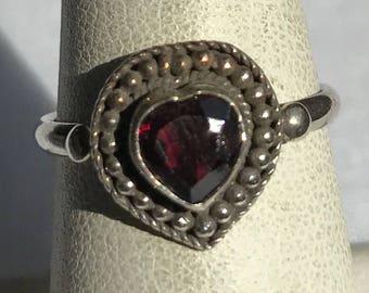 Sterling Silver Garnet Ring-Size 6 3/4