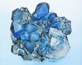Blue Quartz Papagoite Gemstone Print of Oil Painting