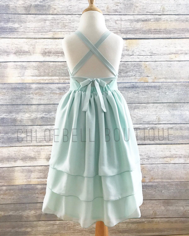 Mint Chiffon Flower Girl Dress - Mint -Pastel Toddler Flower Girl ...