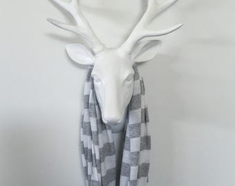 Infinity Scarf - Heather Gray & White Extra Wide Stripe - Cotton Jersey Knit