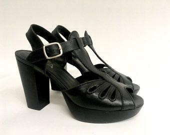 90s does 70s Black Platform T Strap Sandals Heels