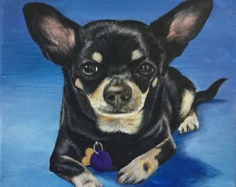 10x10 custom pet portrait on canvas from photo acrylic original miniature pincher dog gift