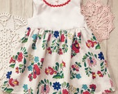 Baby girl dress 3-6 months, hungarian embroidery inspired fabric, floral summer dress