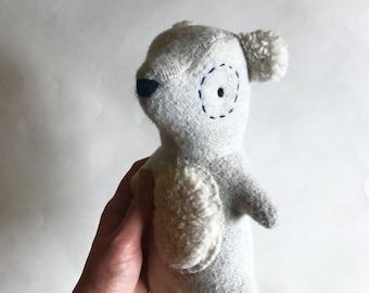 Drew the Bear, polar bear, bear cub, organic bear, bear toy, cloth doll, rag doll, handmade bear, plush bear, stuffed animal, organic toy