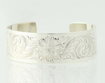 "Etched Floral Cuff Bracelet 6 1/4"" - Sterling Silver Women's N5202"