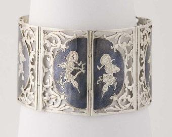 """Vintage Siam Link Bracelet 6 3/4"""" - Sterling Silver Niello Figural Asian goddess N6009"""