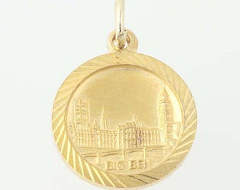 Palace of Westminster Charm -9k Gold Parliament Big Ben London, England Souviner N8574
