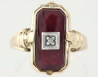 Vintage Reversible Gemstone Ring -10k Gold Synthetic Red Spinel, Diamond, Onyx N8292